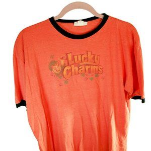 Lucky Charms T-shirt Men's size XL Orange Ringer